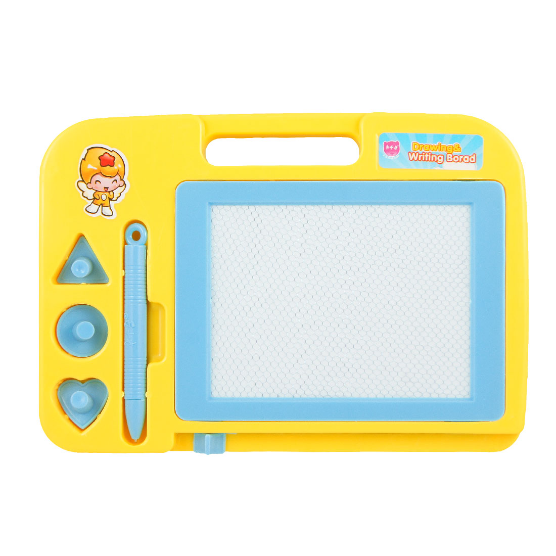 Child Yellow Plastic Rectangular Double Sides Magnetic Drawing Writing Sketch Board