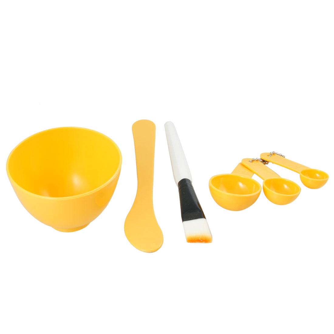 Ladies Facial Beauty Skin Care Mask Mixing Bowl Stick Brush Gauge 4 in 1 Yellow