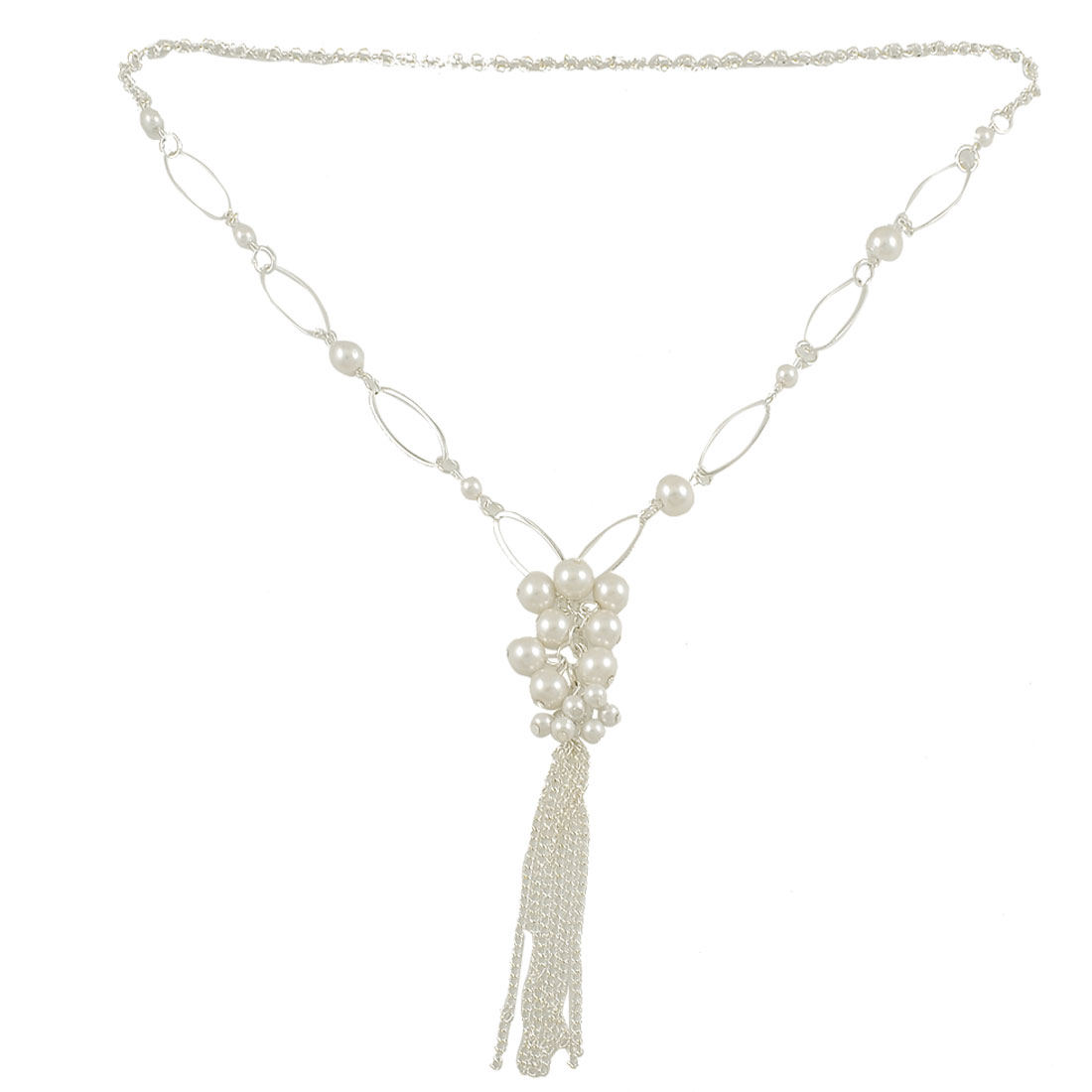 Women Dangle Chain Imitation Pearl Cluster Pendant Sweater Necklace Jewelry