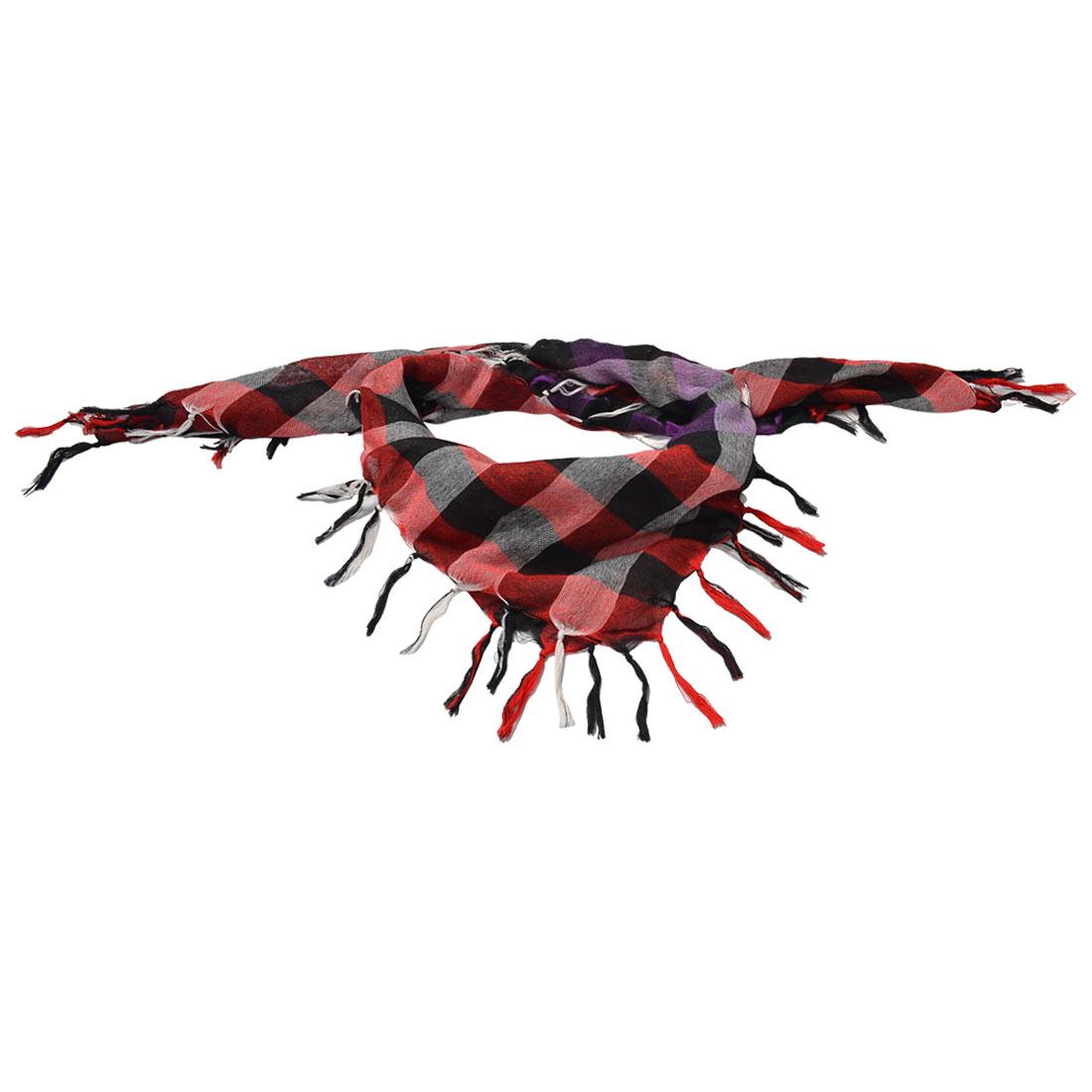 Woman Winter Casual Multicolor Check Print Tassel Scarf Shawl 100x100cm