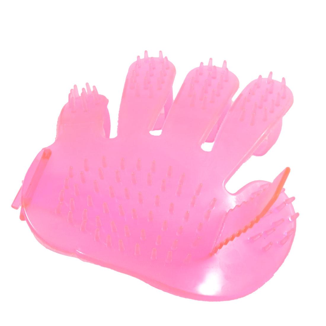 Pet Dog Puppy Grooming Glove Bath Head Massage Brush Pink
