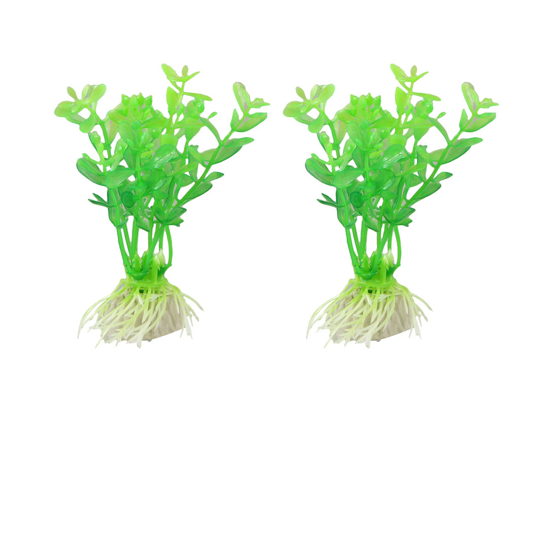 "3.7"" High Green Manmade Water Plant Grass 2 Pcs for Fish Tank Aquarium"