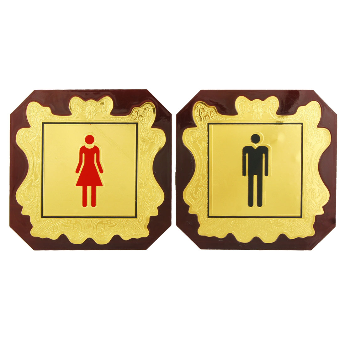 2 in 1 Man Woman Plastic Washroom Toilet Notice Sign Instruction Board