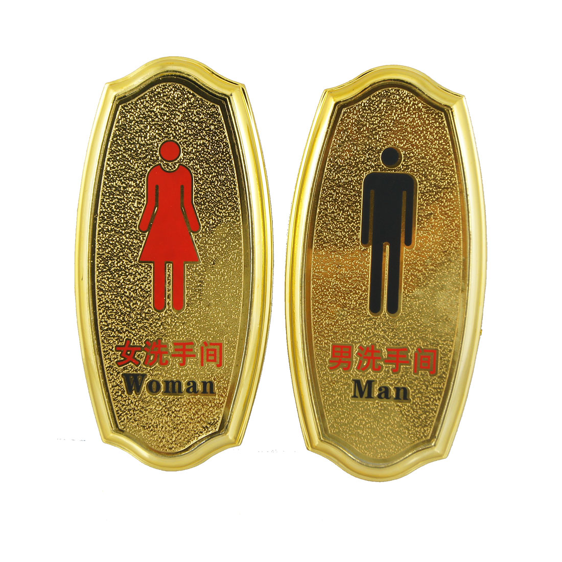 2 in 1 Man Woman Plastic Washroom Toilet Notice Sign Board Gold Tone