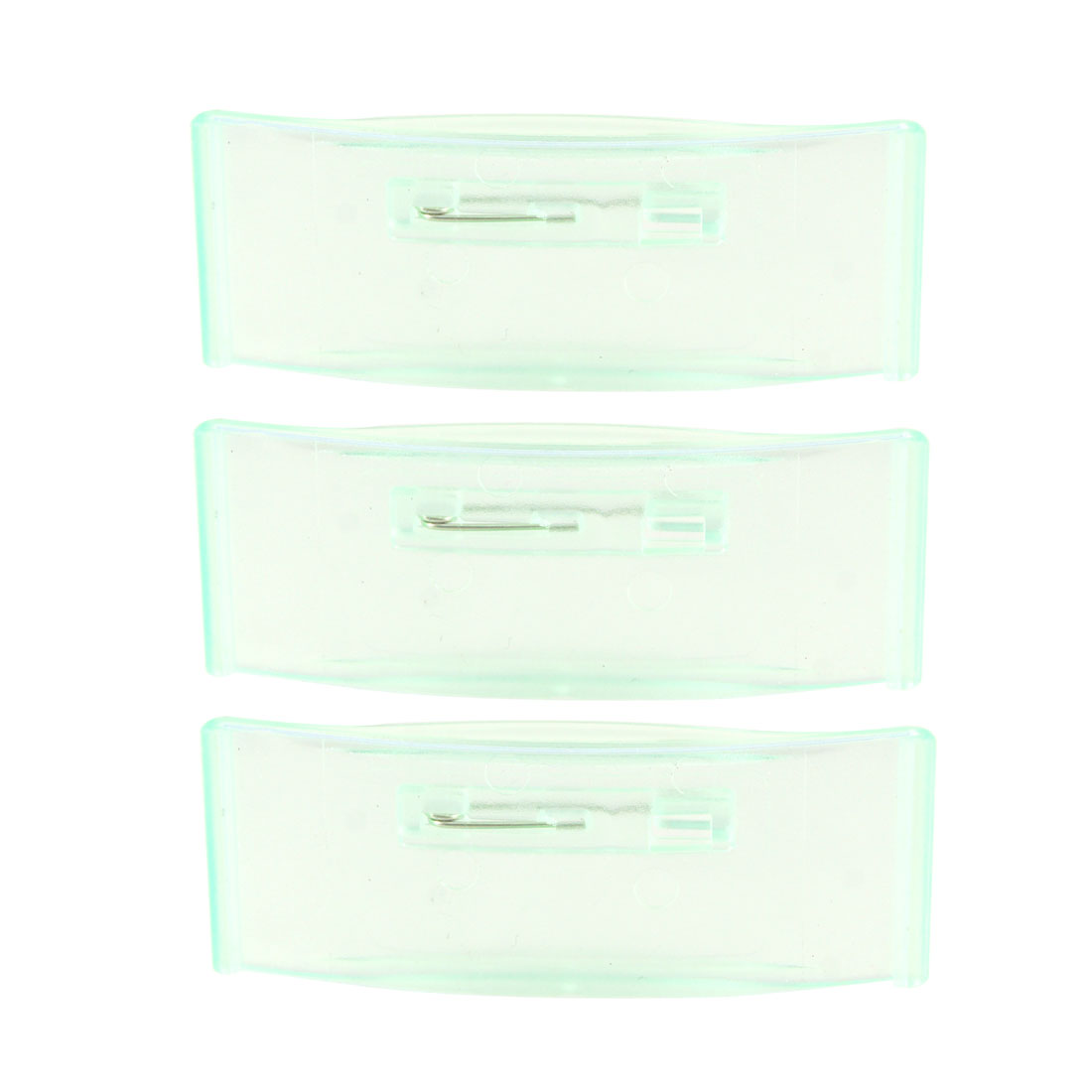 3 Pcs Clear Green Plastic Work Number Name Tag Clip Rectangle Holder