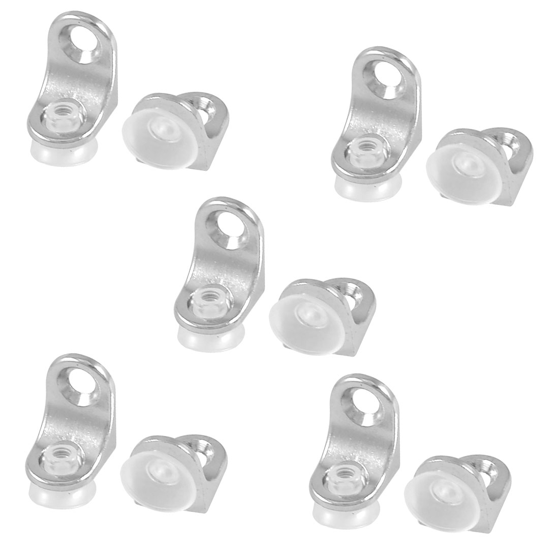 10 Pcs Glass Shelf Mounting Silver Tone Metal Support Holder Bracket
