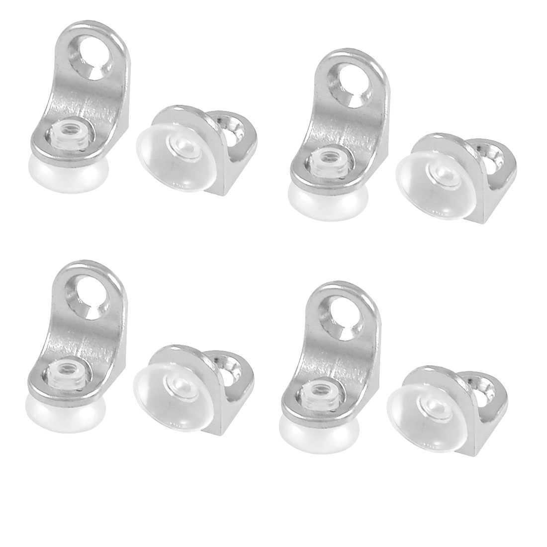 8 Pcs Glass Shelf Mounting Silver Tone Metal Support Holder Bracket