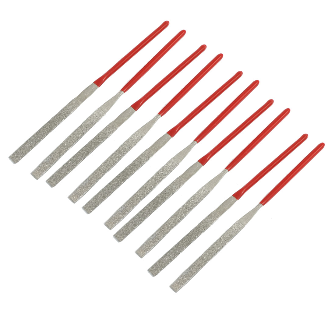 10 Pcs Red Handle 2mm x 100mm Woodwork Equalling Flat Needle Files Set