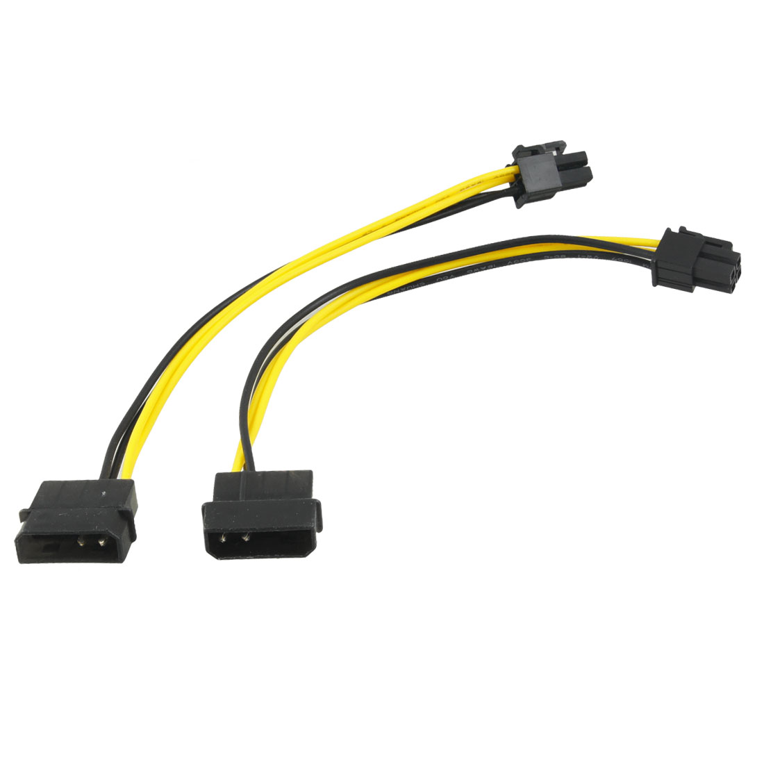 2 Pcs Black Yellow ATX 4 Pin Female to Male F/M Power Adapters Cable for PC