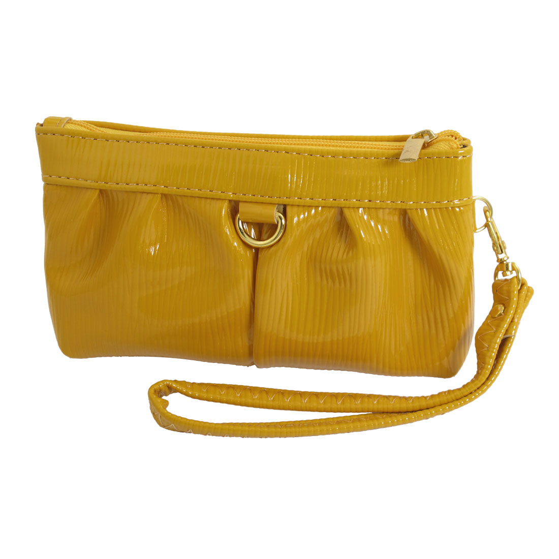 Womens Yellow Textured 2 Compartments Zipper Up Faux Leather Wallet Purse Bag