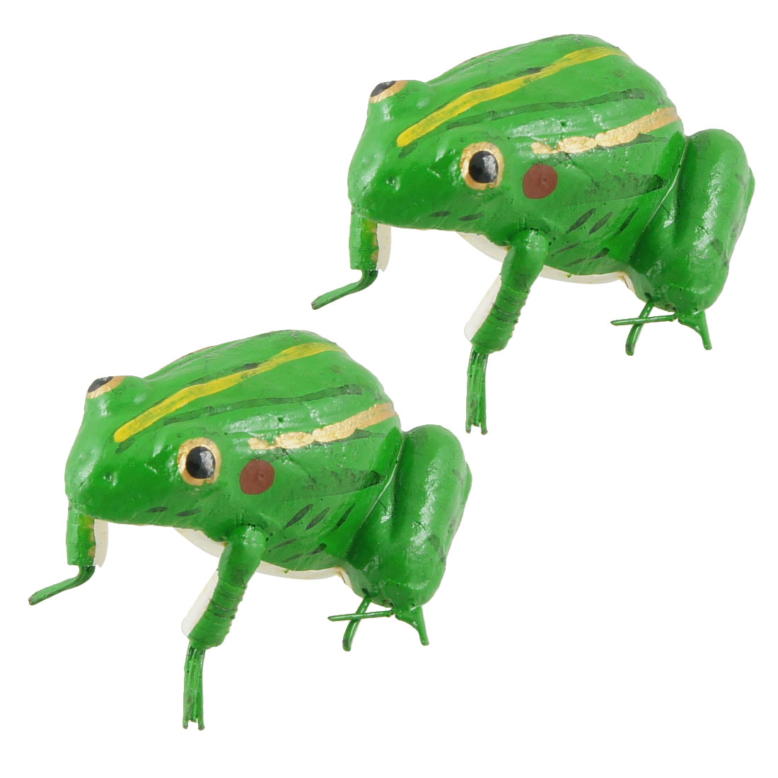 Fridge Refrigerator Ornament Frog Shape Magnetic Sticker Green 2 Pcs