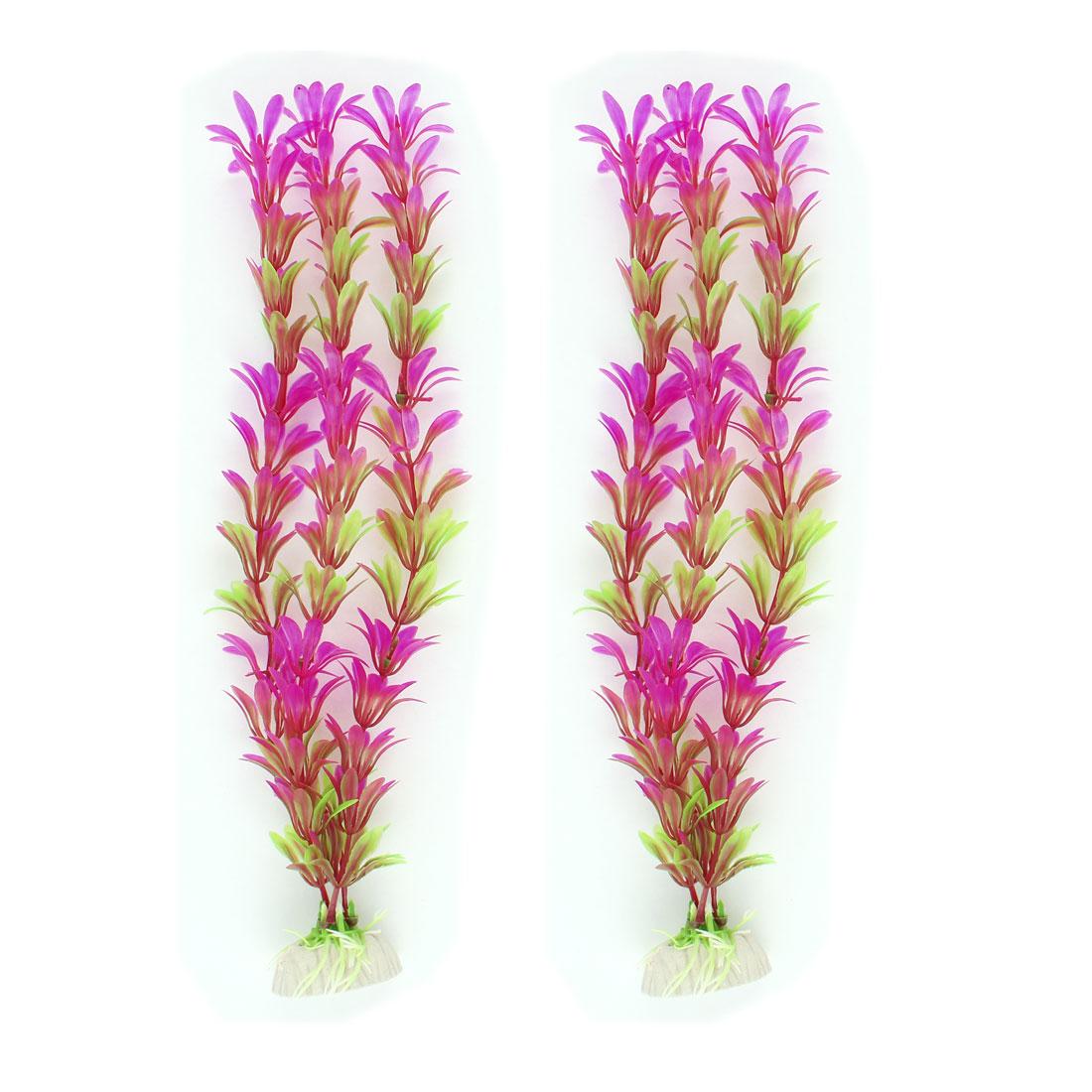 28cm Fuchsia Green Simulation Water Grasses Decor for Aquarium 2 Pcs