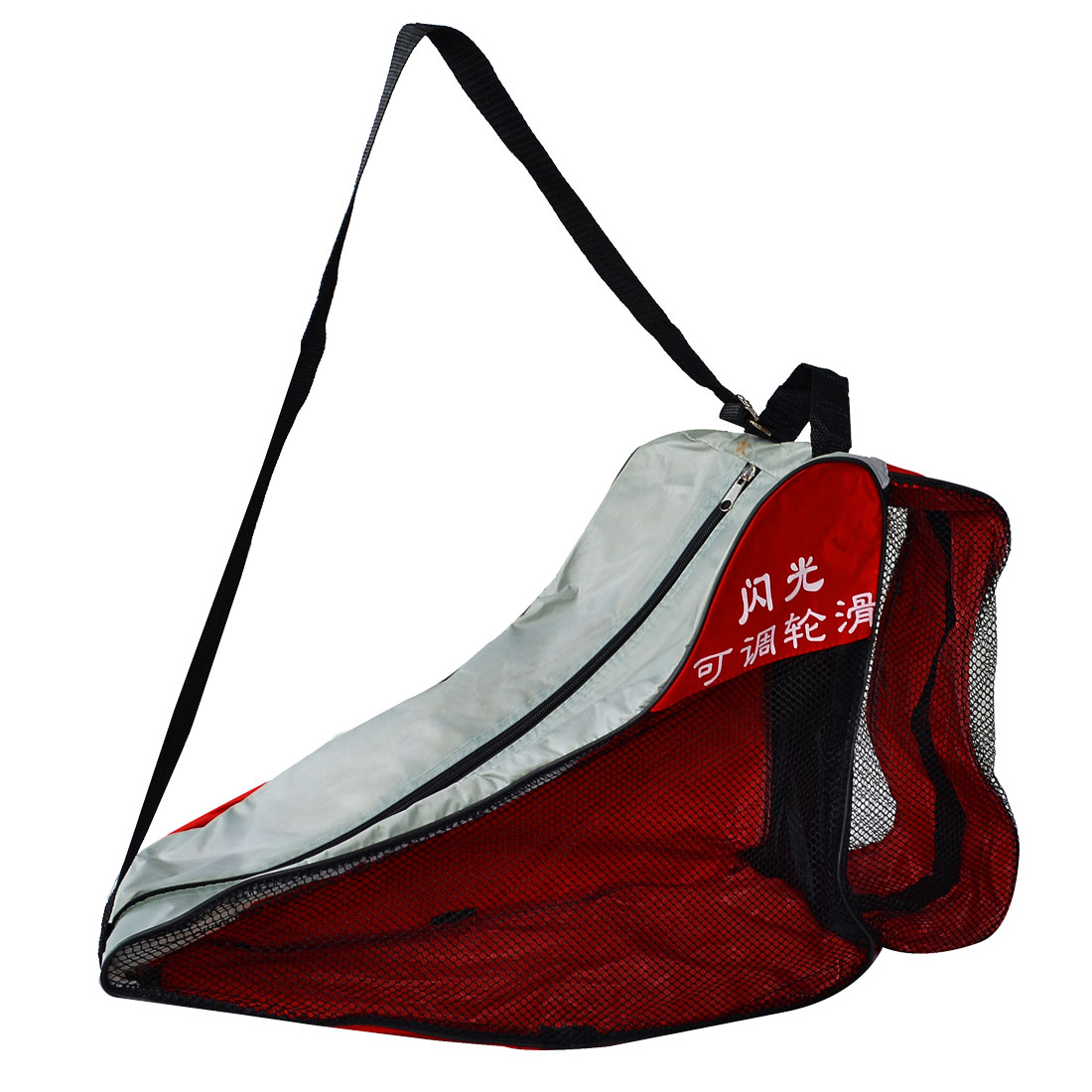 Black Nylon Mesh Zip Up Roller Skating Shoes Shoulder Strap Carry Bag Red Gray