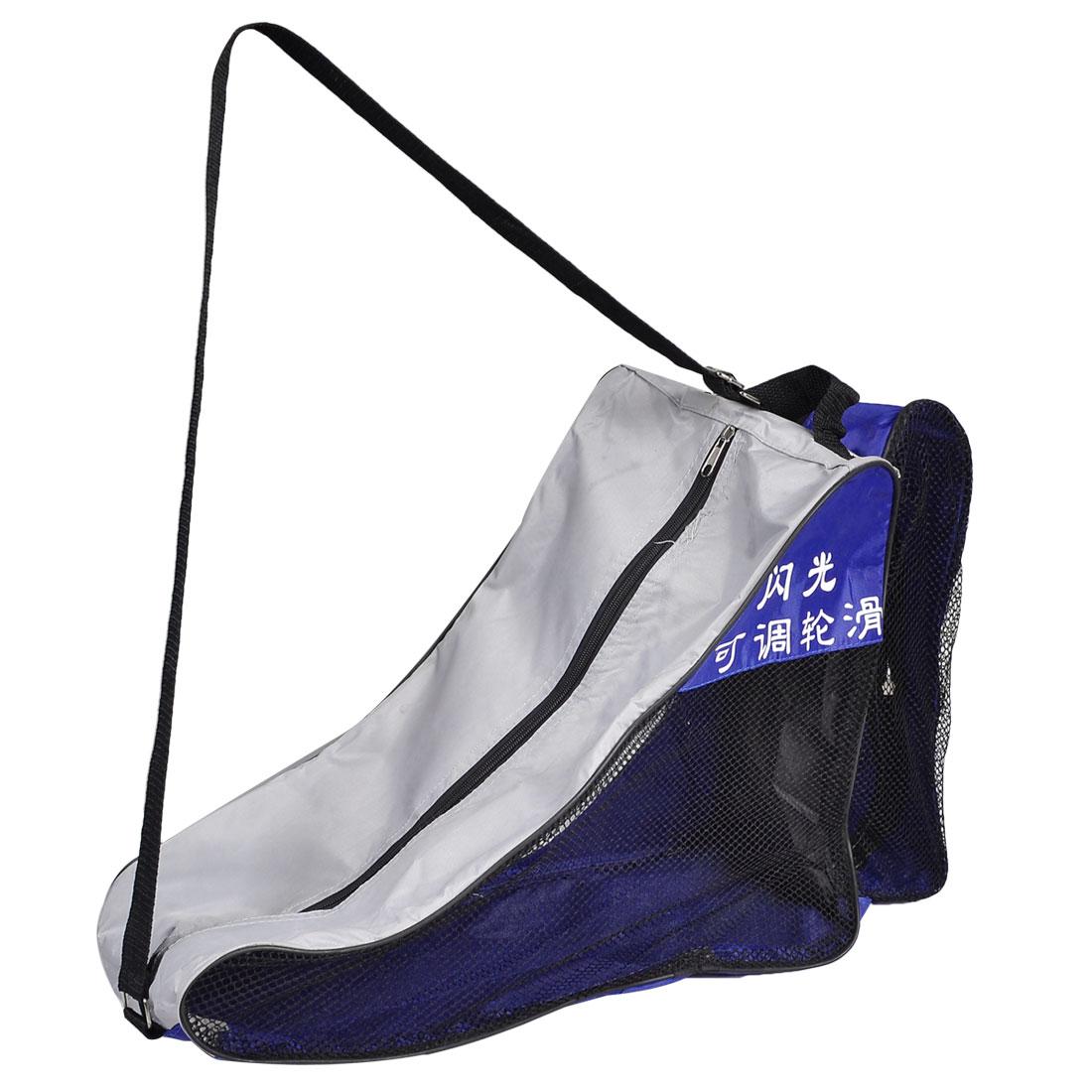 Black Nylon Mesh Zip Up Travel Skating Shoes Shoulder Strap Carry Bag Blue