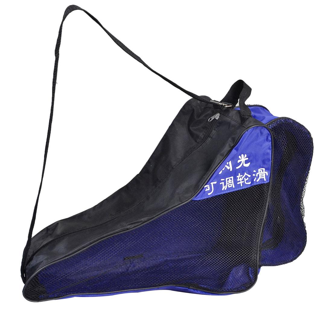 Black Mesh Zipper Skating Shoes Rollerskate Shoulder Strap Carry Bag Blue Gray