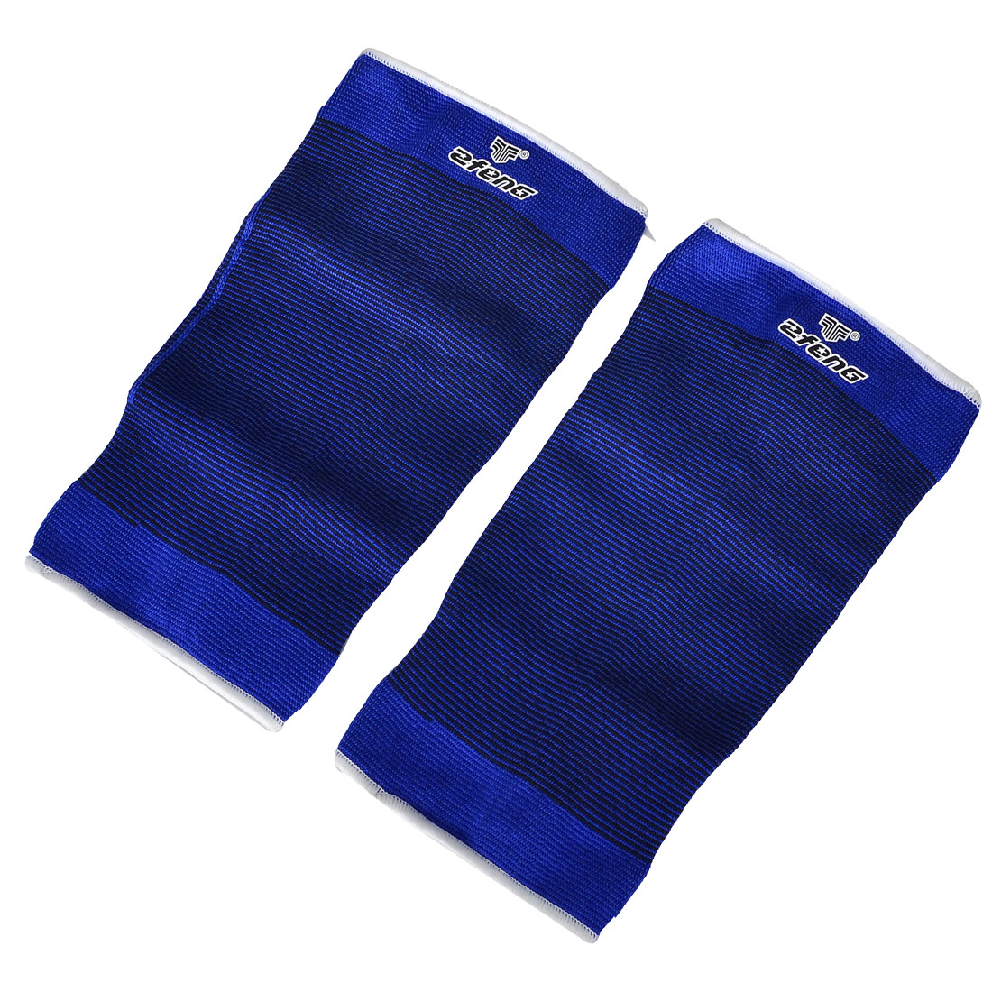 Pair Sports Protection Striped Elastic Knee Support Sleeve Brace Blue Black