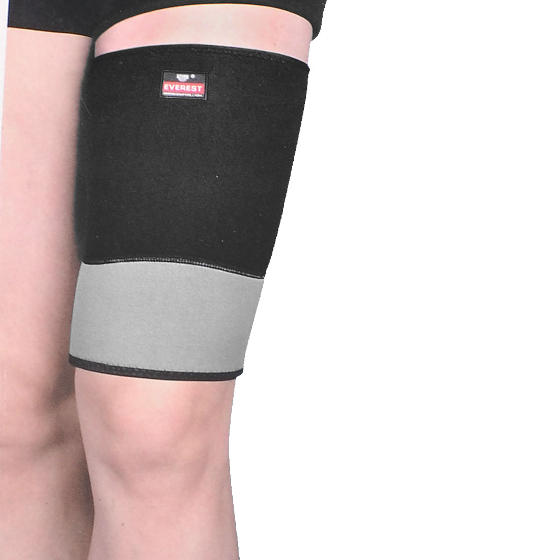 Sports Protection Elastic Neoprene Thigh Support Brace Sleeve Black Gray