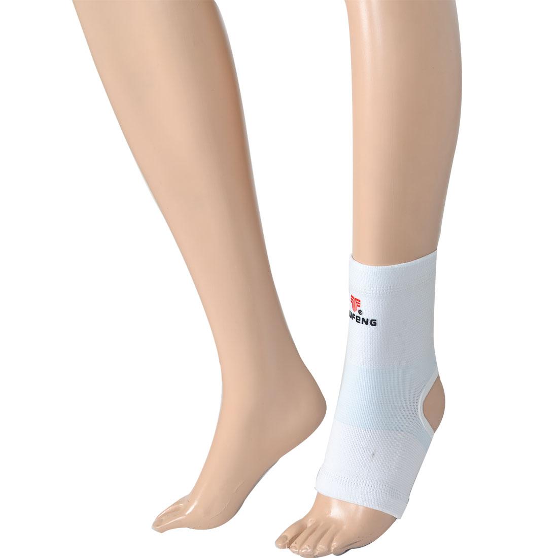 White Light Blue Jacquard Weave Elastic Heel Ankle Support Protector Brace