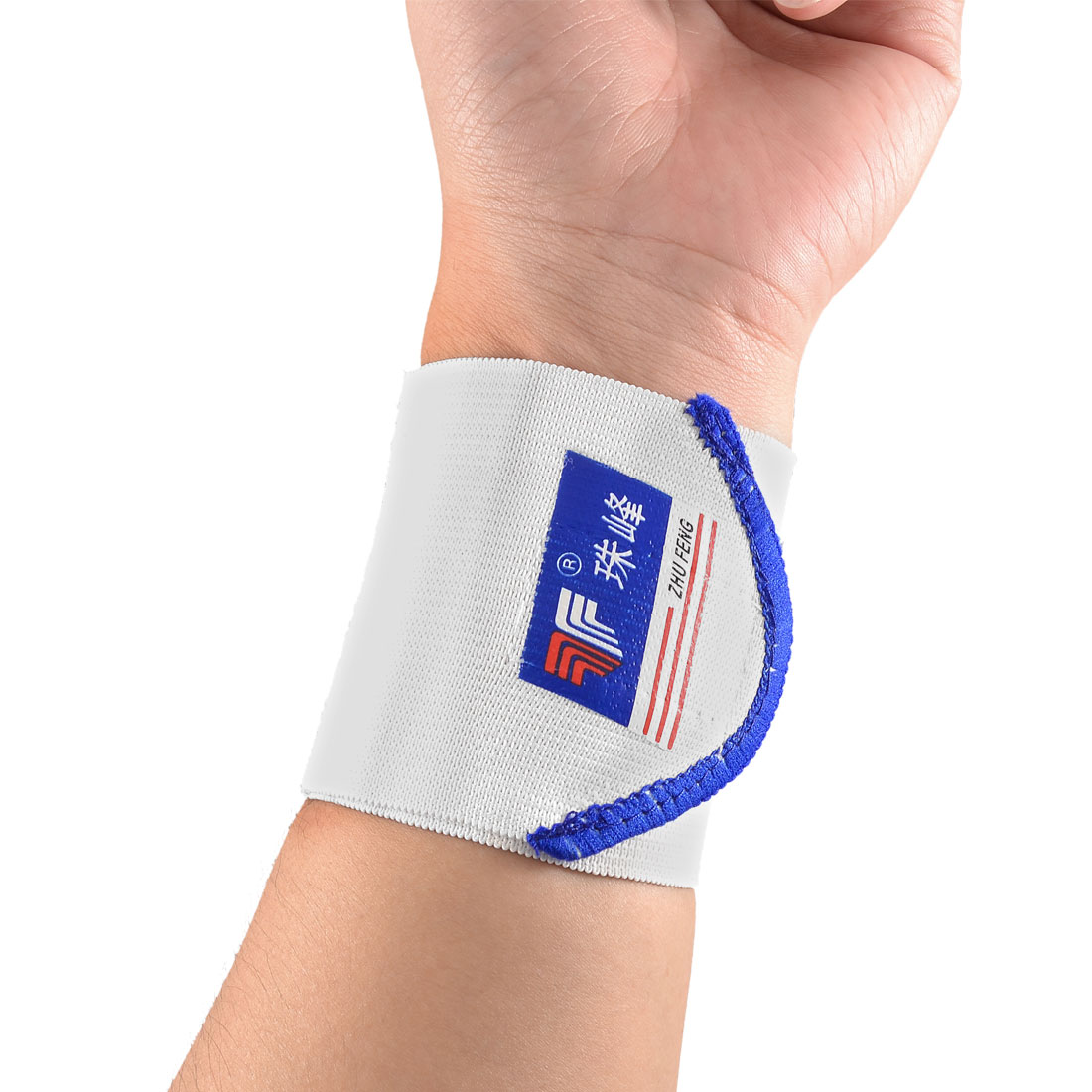 Pair Hoop Loop Closure Sports Protecting Elastic Wrist Support Sleeve White