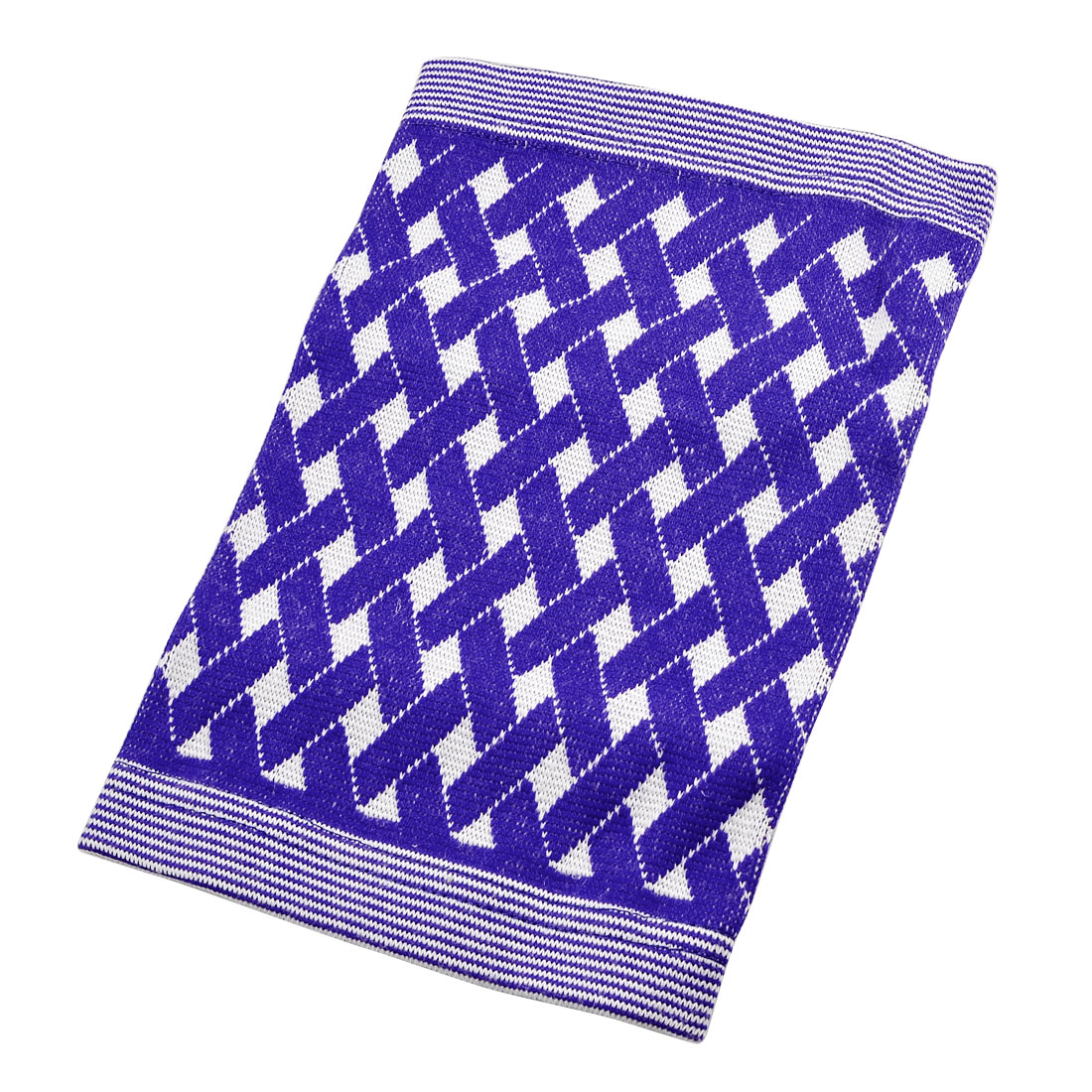 Striped Trim Blue White Woven Plaid Pattern Elastic Knee Support Protector