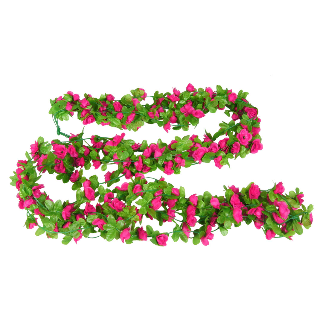 6.6Ft Long Artificial Magenta Flower Green Leaf Hanging Vine 5 Pcs