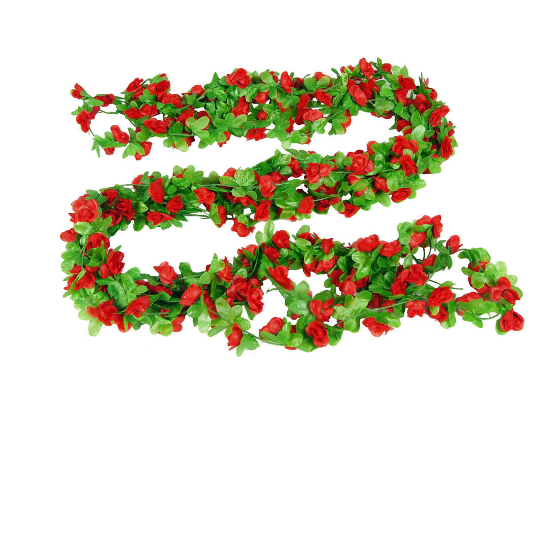 5 Pcs Red Flower Green Leaf Home Wall Ornament Hanging Vine 2M