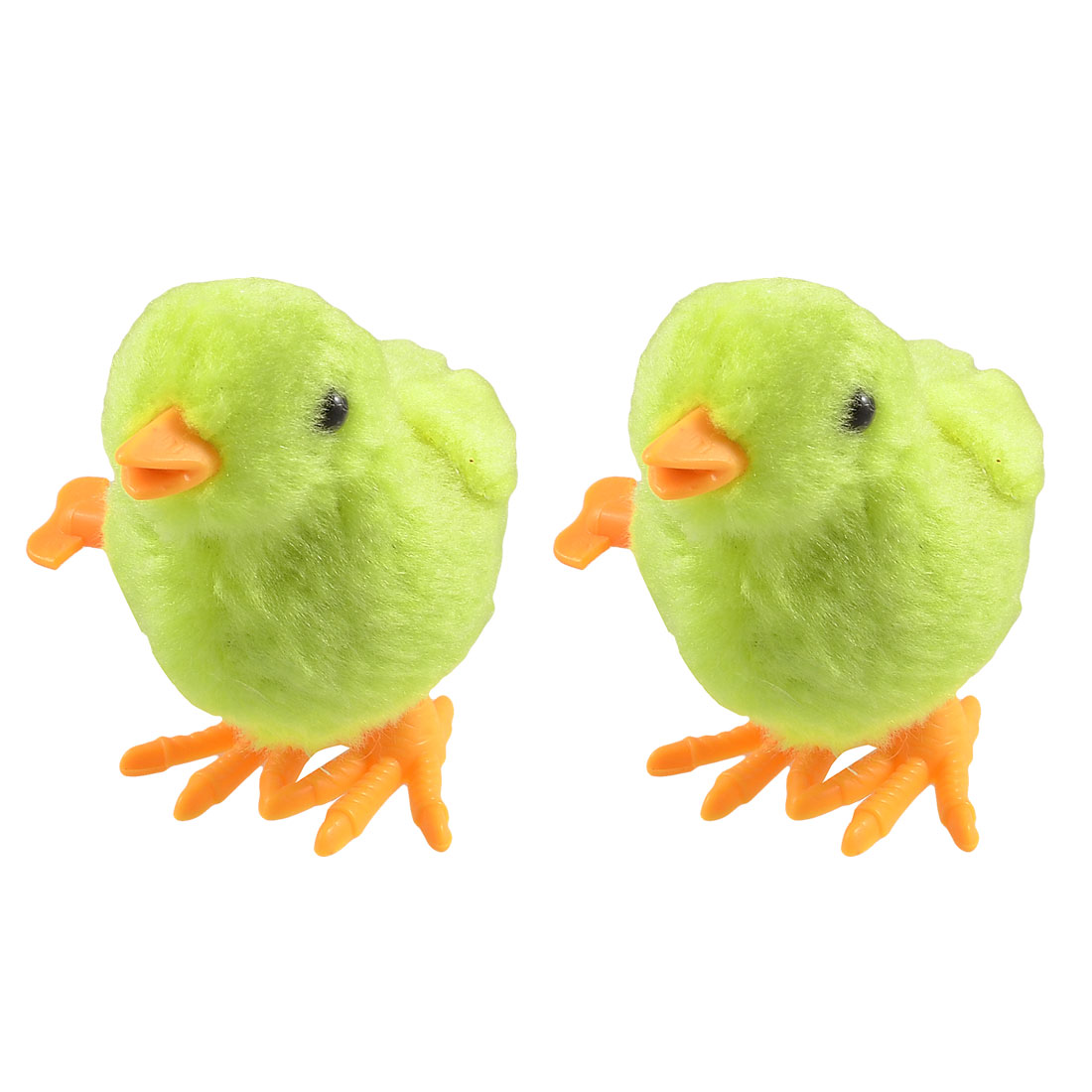 Child Yellow Faux Fur Wrapped Plastic Wind up Chicken Toys 2 Pcs