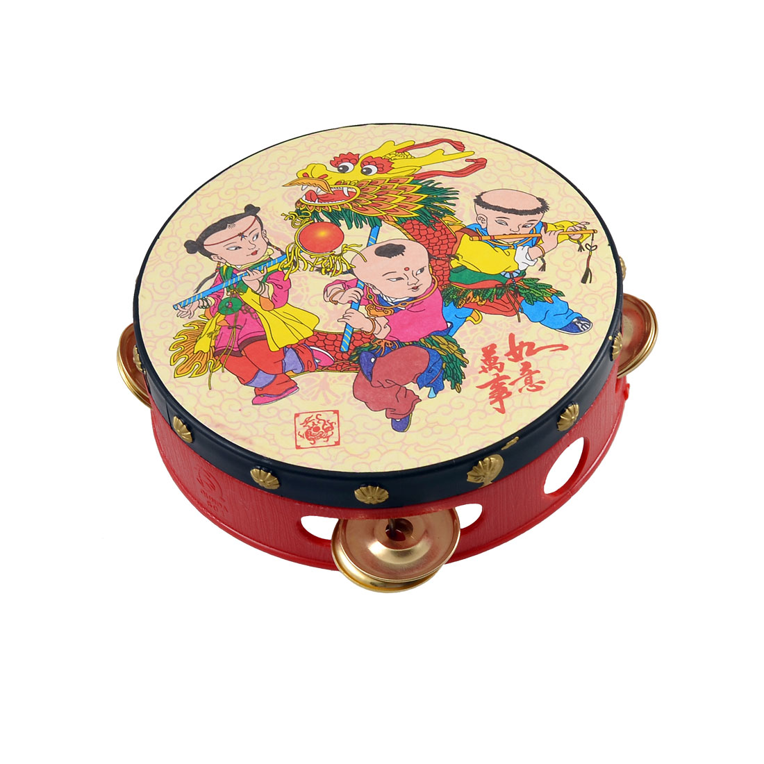 13.7cm Diameter Chinese Traditional Single Side Tambourine Beat Toy