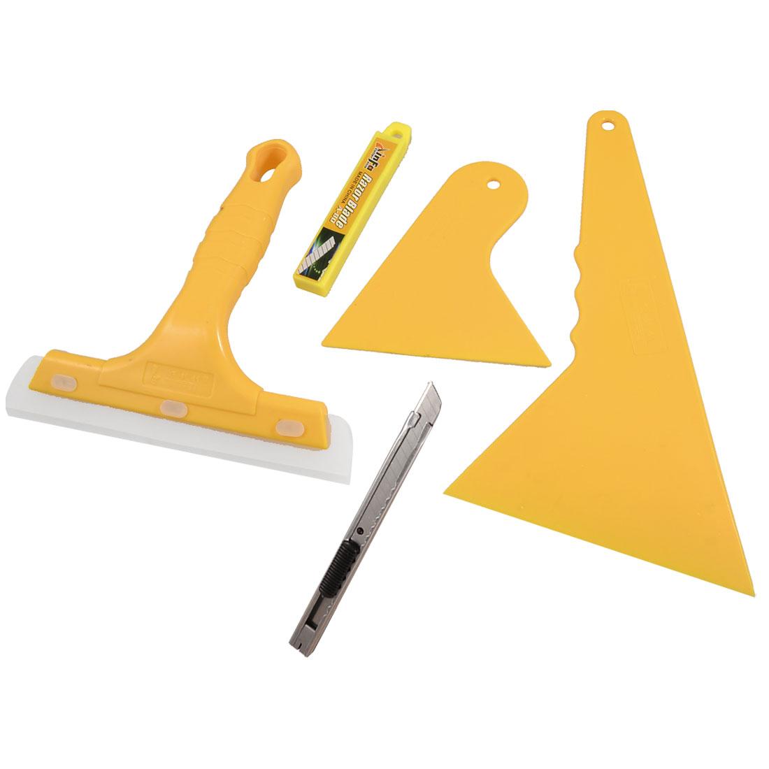 5 in 1 Yellow Plastic Window Glass Wiper Blade Cutter Film Scraper Set