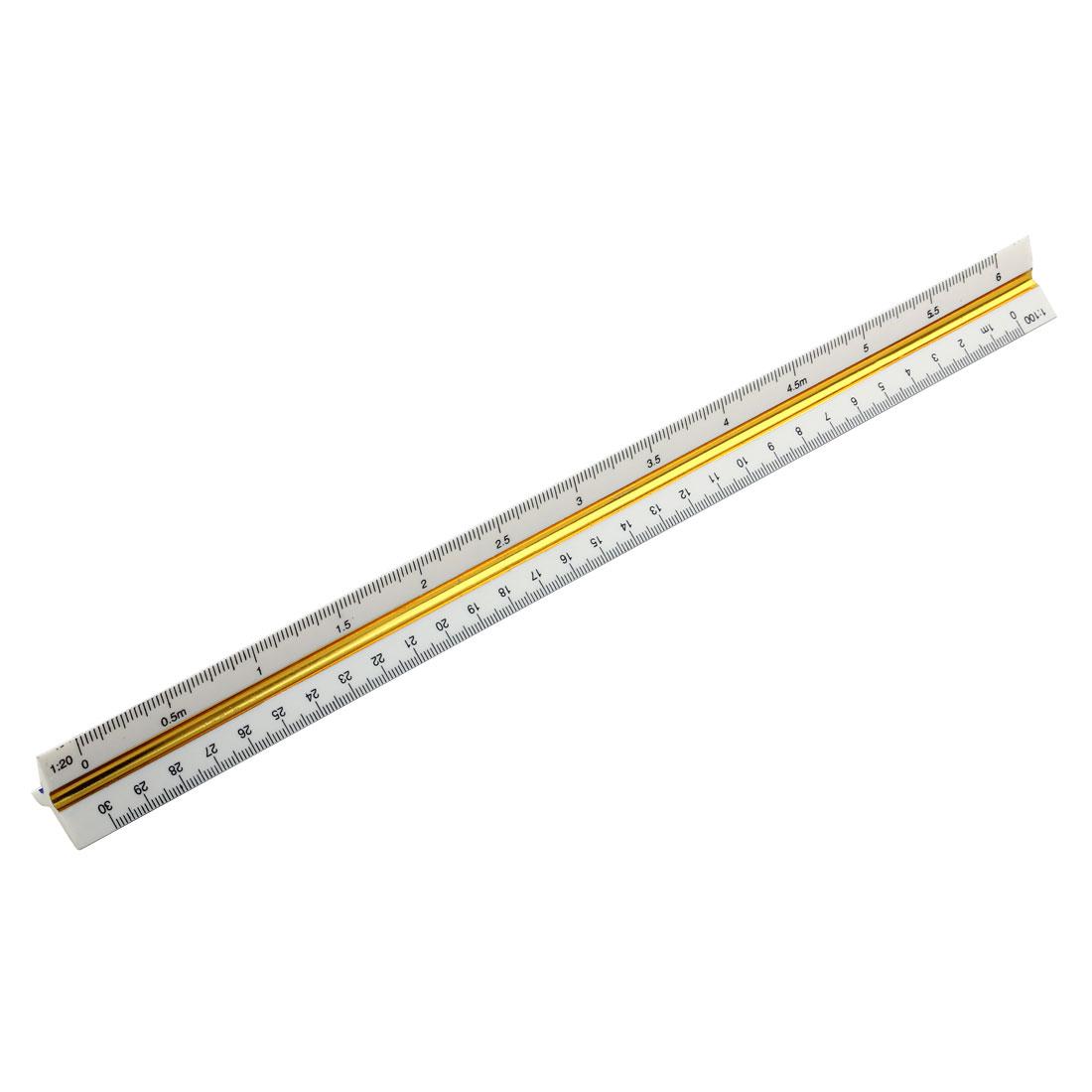 30cm Plastic Triangular Scale Ruler 1:20 1: 25 1:50 1:75 1:100 1:125