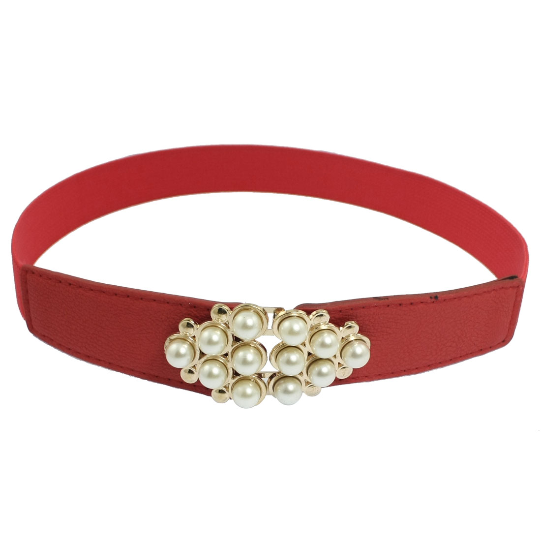 Faux Pearl Adorn Interlocking Buckle Red Stretch Waist Belt Band for Ladies