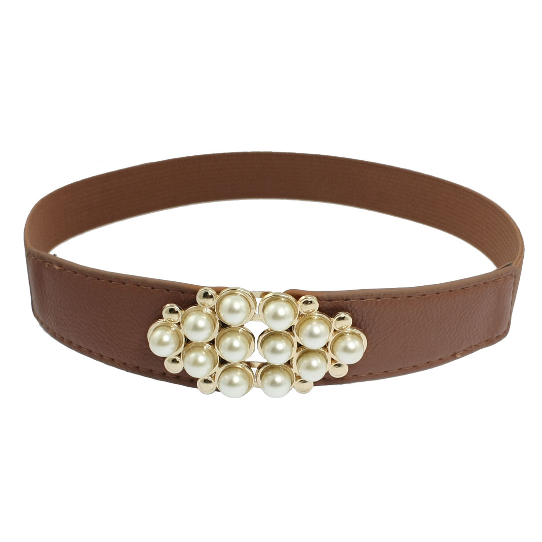 Plastic Pearl Decor Buckle Textured Brown Stretchy Waist Belt for Women
