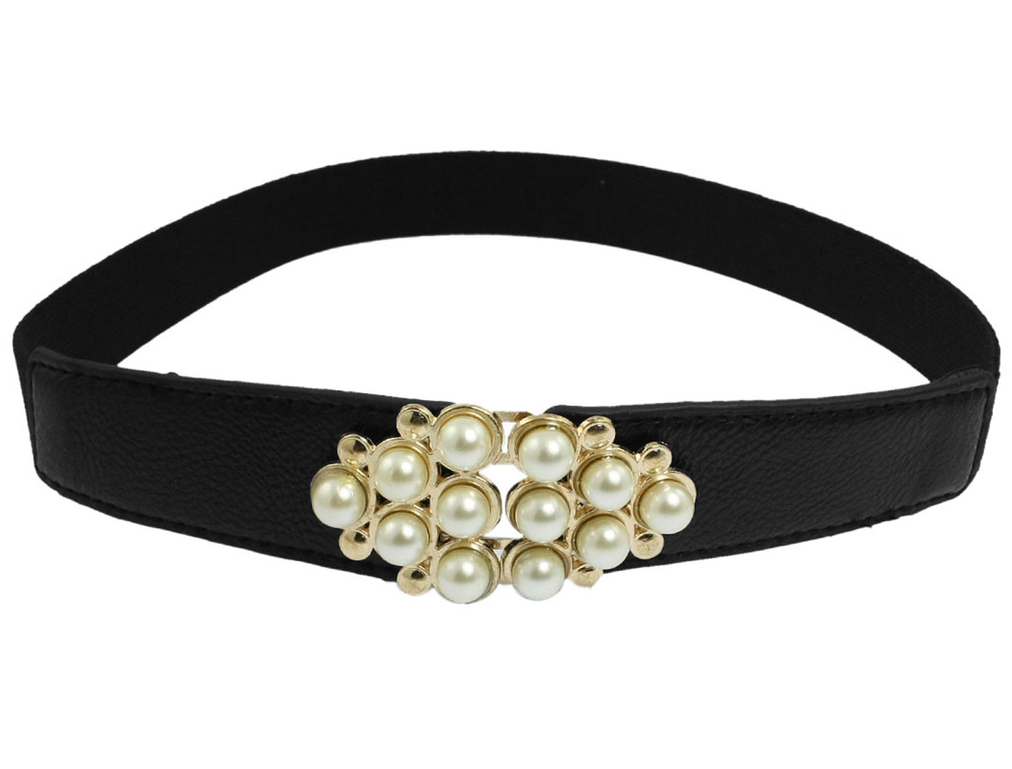 Faux Pearl Adorn Interlocking Buckle Black Stretch Waist Belt Band for Ladies