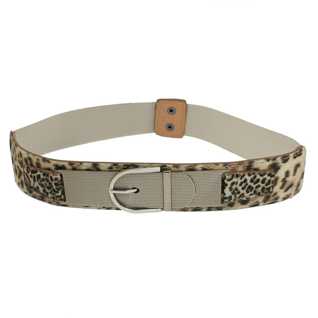 Woman Lady Interlocking Buckle Leopard Pattern Khaki Stretch Waist Belt Band