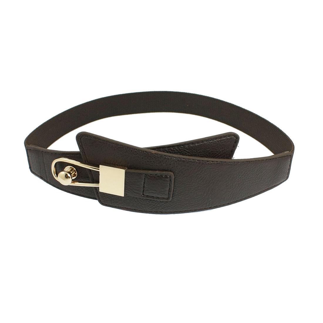 Metal Lock Shape Buckle Textured Coffee Color Stretchy Waist Belt Band for Women