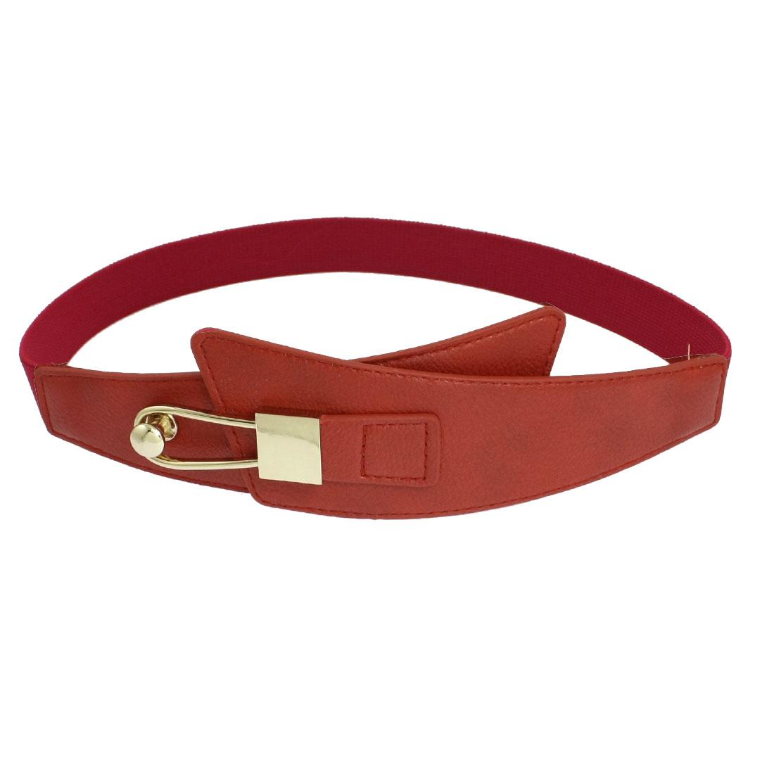 Woman Lady Metal Lock Shape Buckle Red Dress Skirt Decoration Stretch Waist Belt