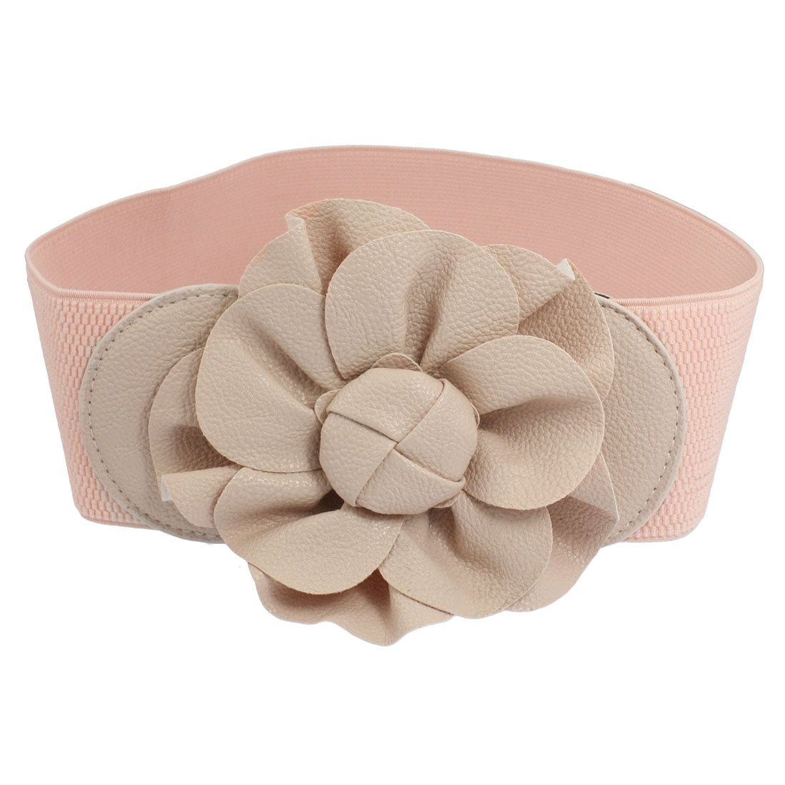 Pink Faux Leather Floral Shape Decor Stretchy Waist Belt Band for Women