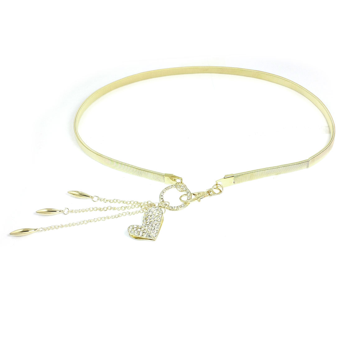 Women Gold Tone Metal Heart Shape Accent Lobster Clasp Stretch Waist Chain