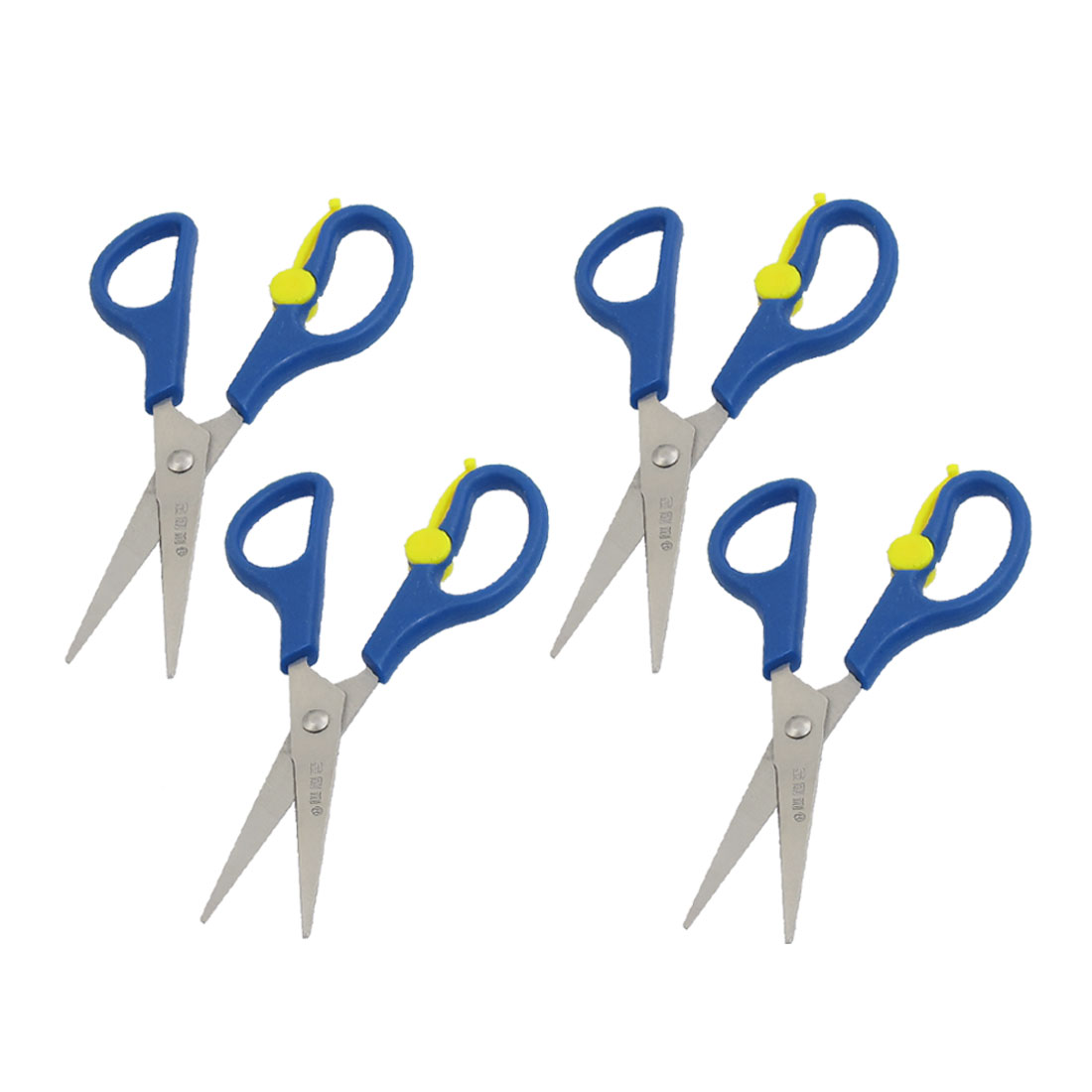 4 Pcs Office Stationery Blue Yellow Plastic Non-slip Handle Long Blade Scissors