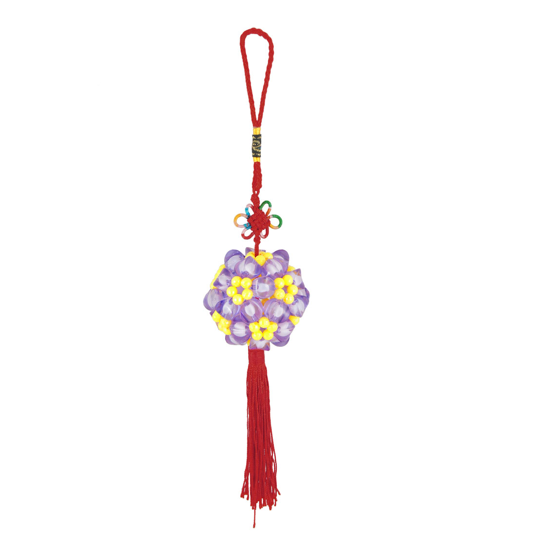 "Colored 2"" Dia Beaded Ball Red Fringed Traditional Chinese Knot Festival Adorn"