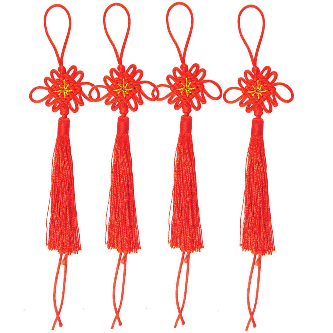 "2 Packs Handcraft Red DIY Chinese Knot Tassel Fringe 4.1"" Length"