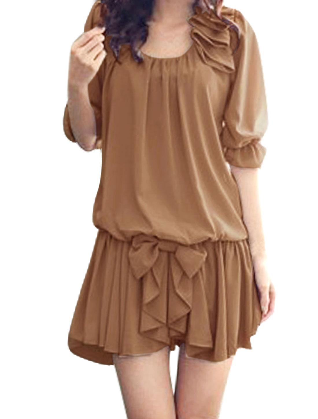 Ladies Khaki Color Stretchy Waistband Bowknot Decor Scoop Neck Chiffon Dress L
