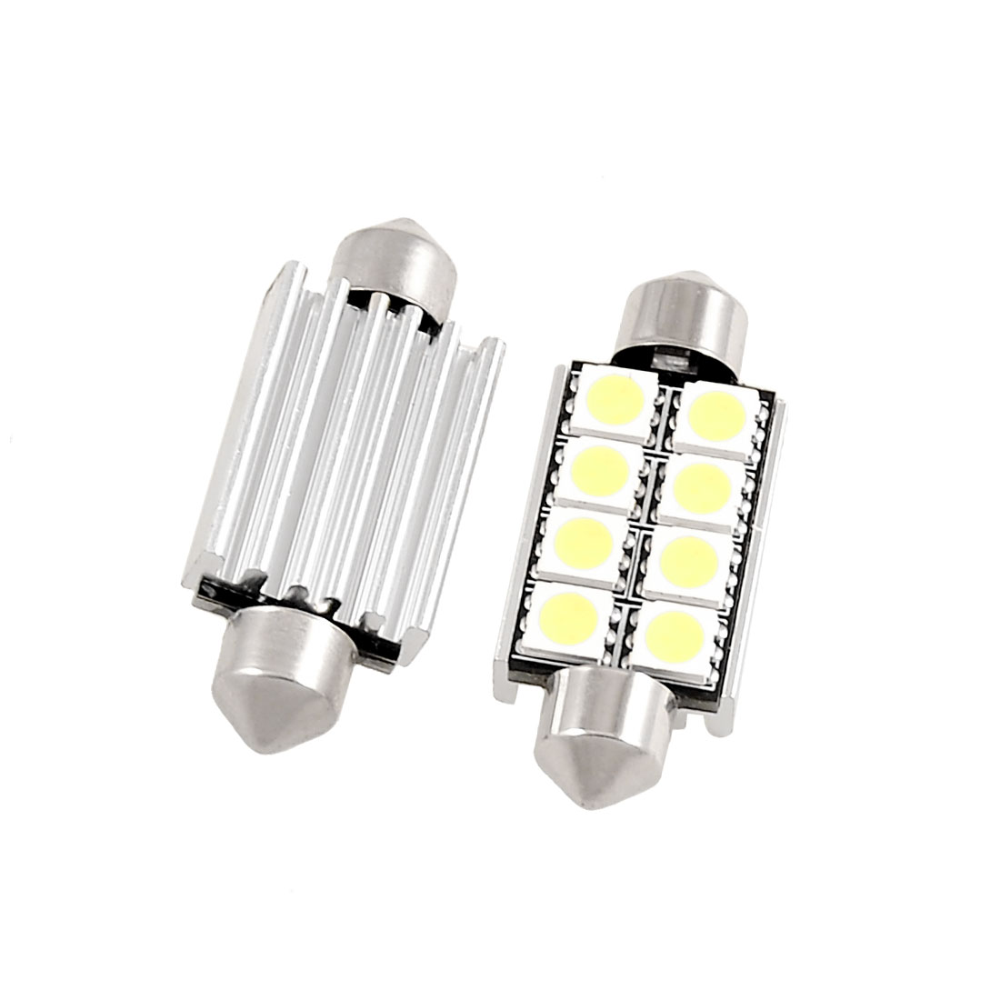 2 x Car 41mm White 8 LED 5050 SMD Festoon Dome Light DC 12V w Heat Sink