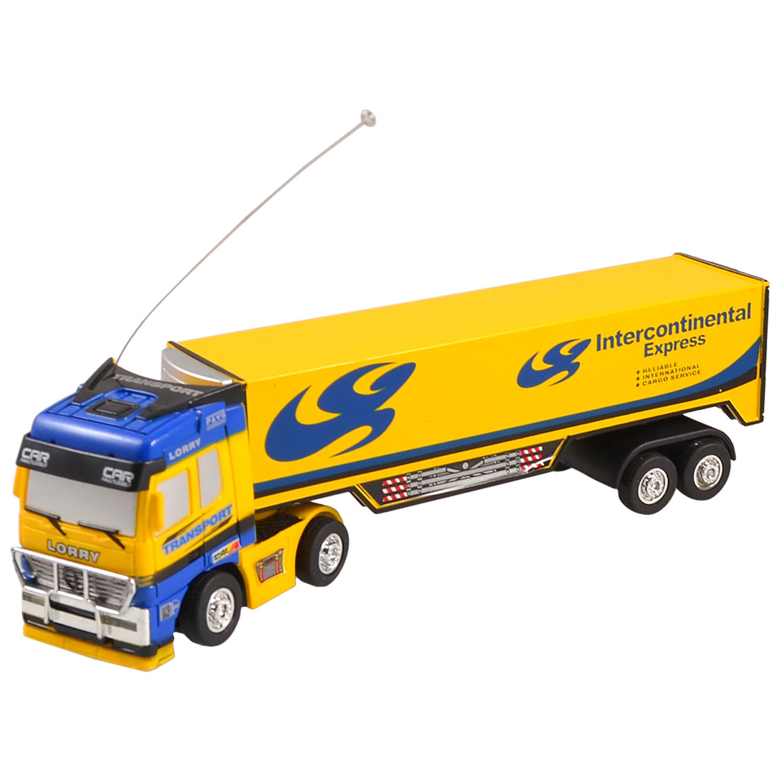 Kids Yellow Blue Plastic Wired Remote Control LPG Transport Tank Truck Toy