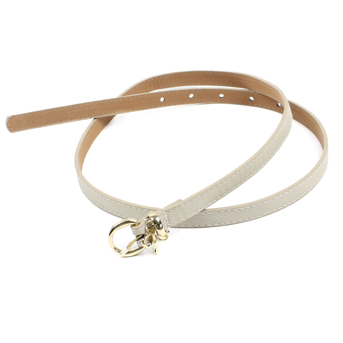 Single Pin Buckle Faux Leather Thin Adjustable Waist Belt Beige for Women