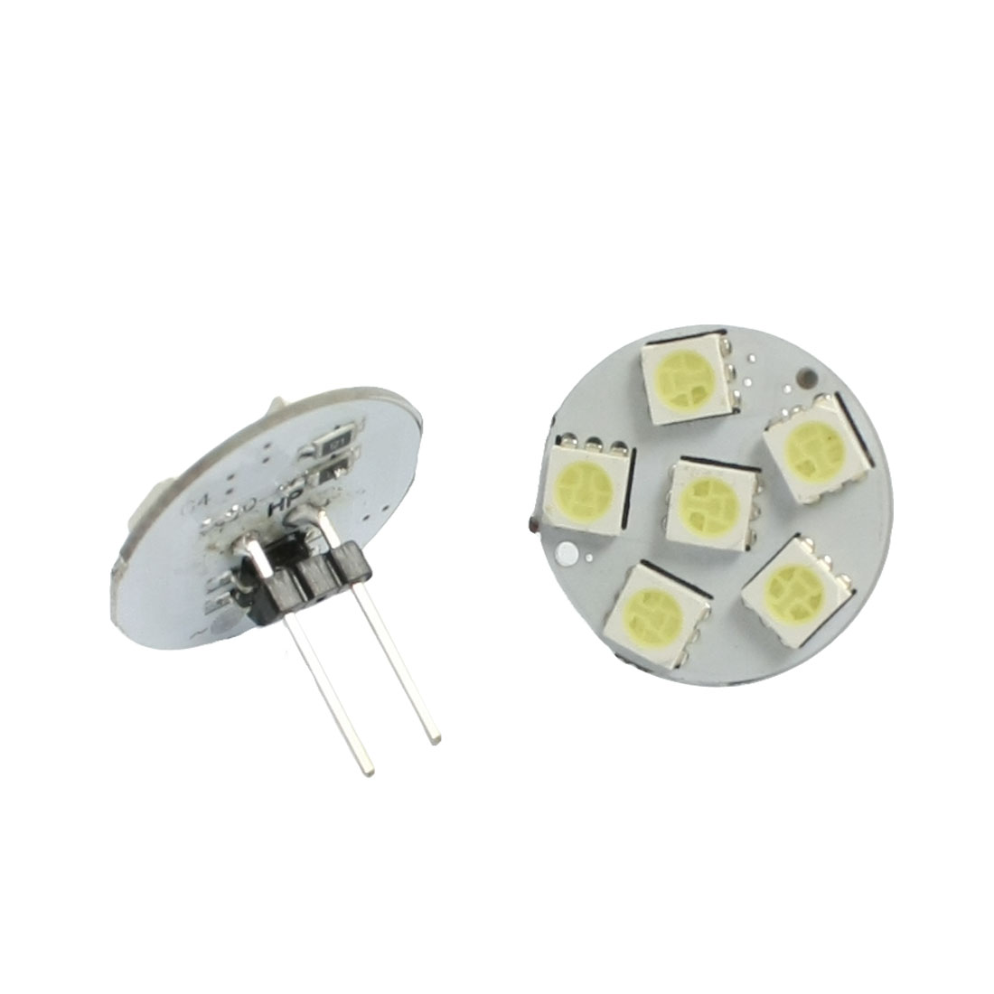 2 Pcs Vertical Pin G4 White 5050 SMD 6-LED Bulb Light Dashboard Lamp