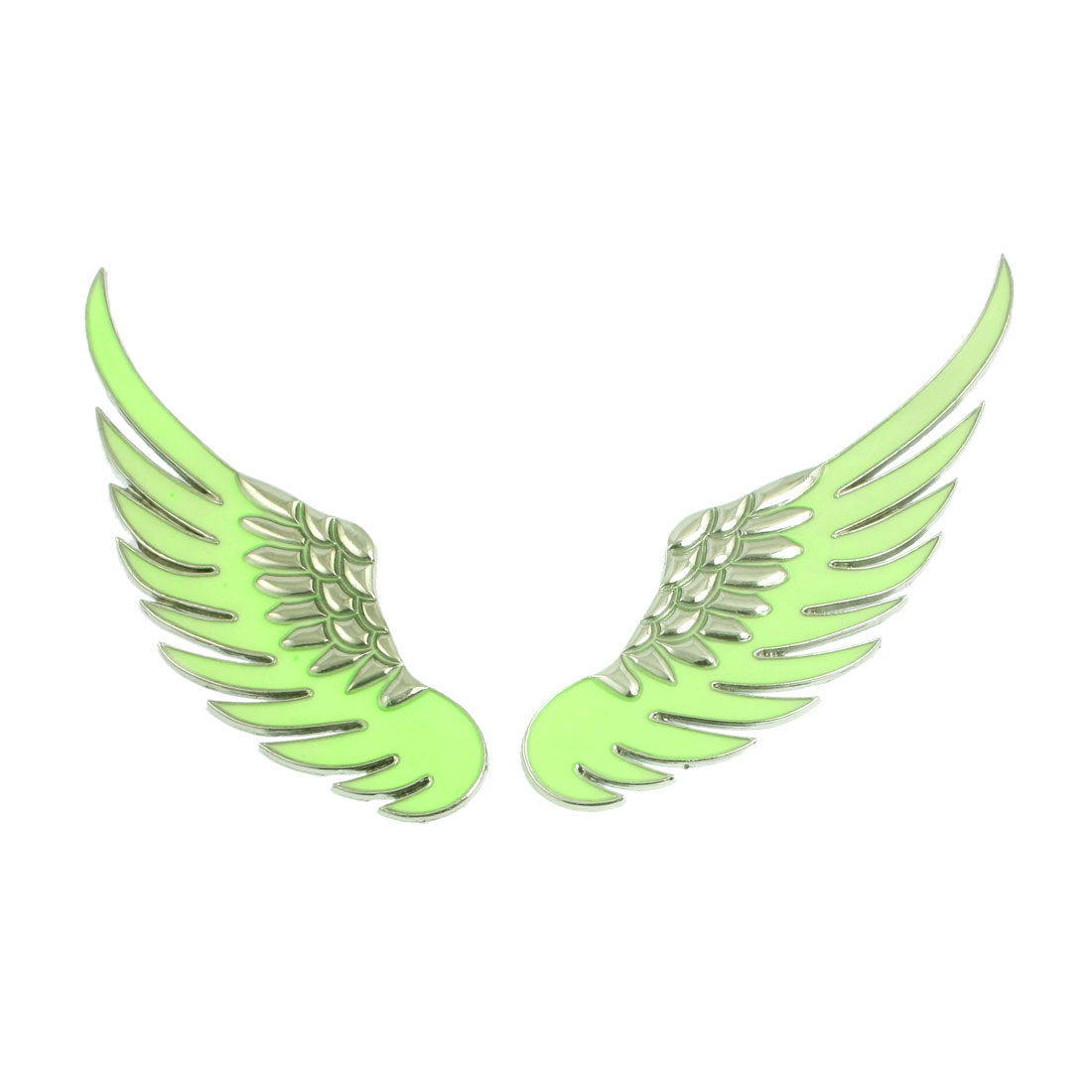 Pair Green Silver Tone Power Detail Angel Wing Shape Car Sticker Badge