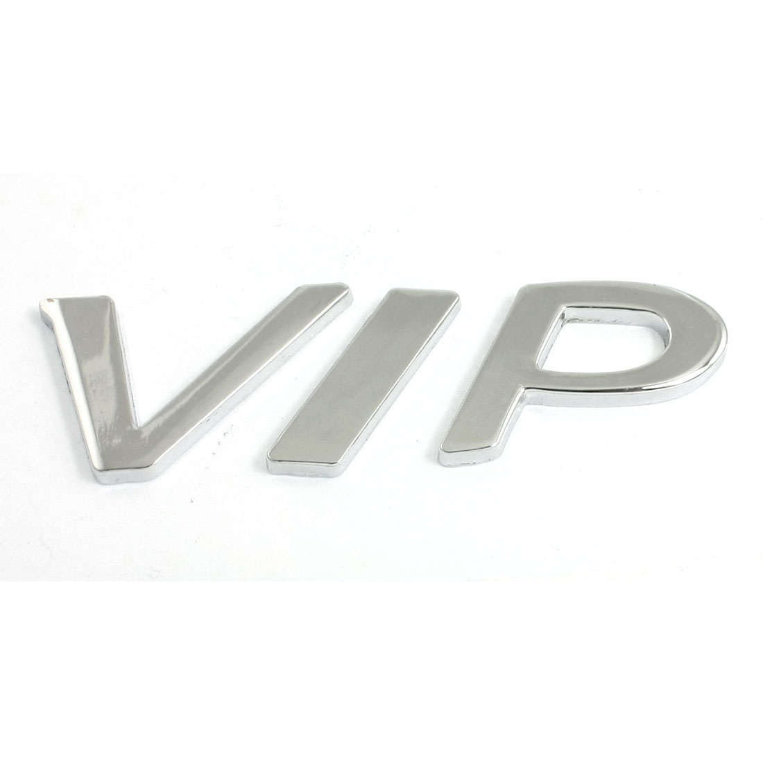 Silver Tone Metal VIP Logo Pattern Decorative Car Badge Sticker