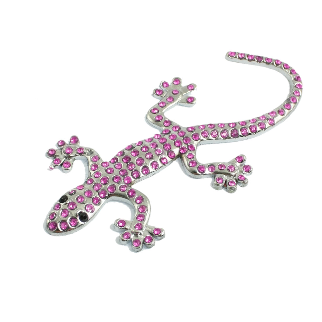 Car Magenta Rhinestone Decor Silver Tone Metal Gecko Style Sticker