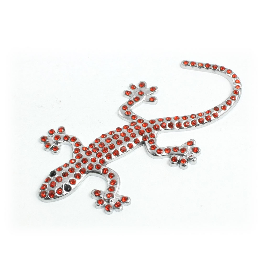 Car Red Rhinestone Decor Silver Tone Metal Gecko Style Sticker